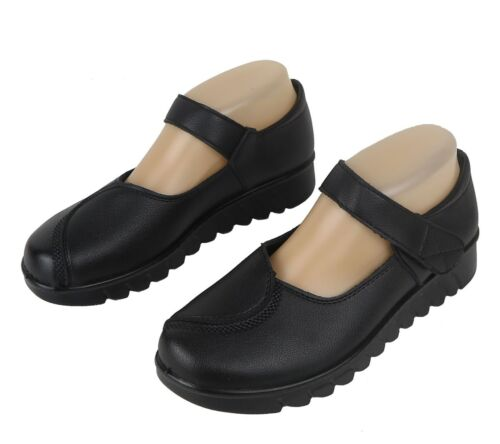 Women/'s Mary Jane Shoes Slippers Adjustable Hook Loop Strap Black Sizes 6-11 New