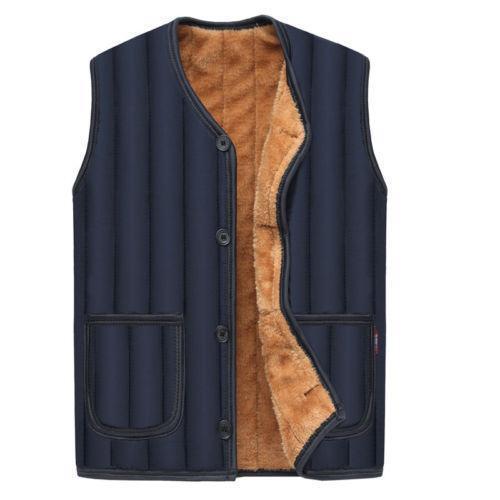 Mens Winter Warm Thicken Vest Sleeveless Cotton V-neck Coat Waistcoat Jacket