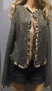 Women-s-H-amp-M-Looped-Fringe-Long-Sleeve-Open-Short-Woven-Cardigan-Sweater-Size-S