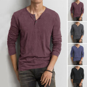 Mens Long Sleeve V Neck Shirt Top Henley Grandad Collarless Button T Shirt Tee Ebay