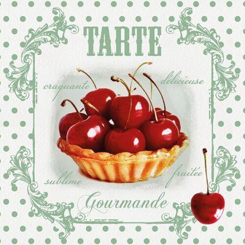 4 Serviettes des nappes red cherries 33 x 33 rouge cerises Gaufre Police Vintage