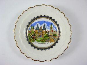 Hamburg Teller Porzellan,8 cm vergoldet,Michel,Landungsbrücken,Souvenir,NEU