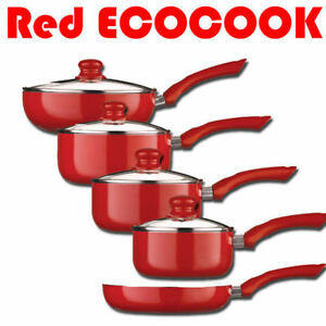 Red Ecocook Pan Frypan Saucepan Set Non Stick White