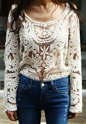 Women's Sexy Semi Sheer Sleeve Embroidery Floral Lace Crochet Tee Top T shirt