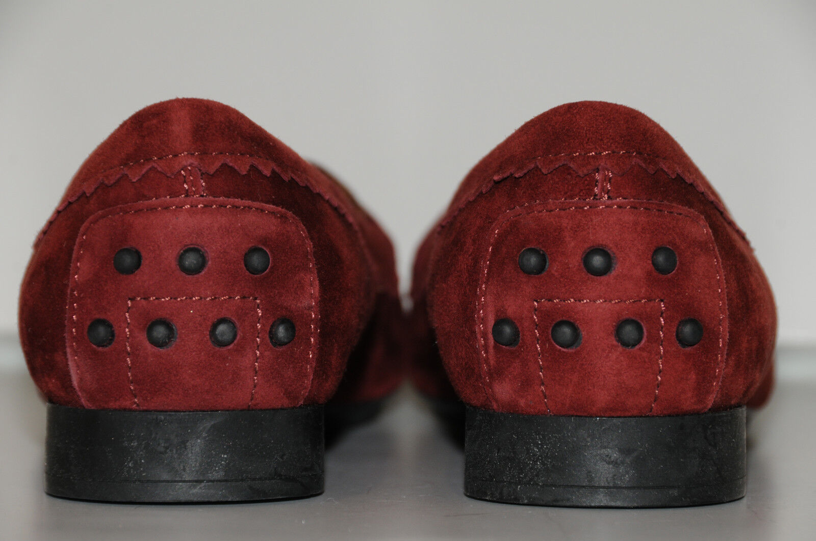 New TOD'S Flats Red  Burgundy Suede Mocassins Jewel Jewel Jewel CRYSTALS shoes Loafers 39.5 0db694