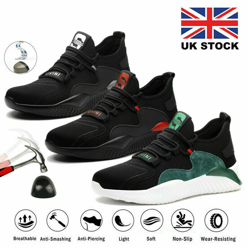 Mens Safety Shoes Lightweight Trainers Women Work Steel Toe Cap Hiking Boots UK