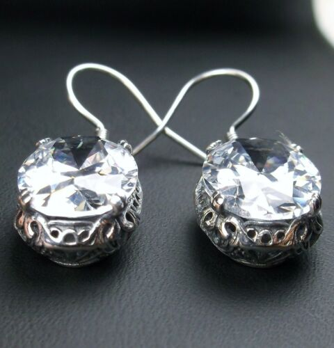 White Gem Sterling Silver Edwardian//Victorian Filigree Earrings {Made to Order}