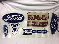 Ford Blue Oval Vintage Style Sticker Decal Vinyl Parts Sheet Gasser Cling Car