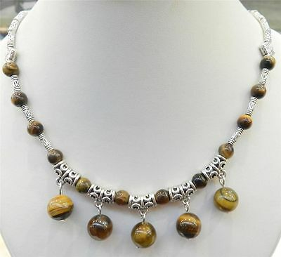 """LOVELY NATURAL TIGER'S EYE ROUND BEADS PENDANTS & TIBET SILVER NECKLACE 18"""""""