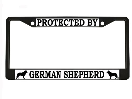 """/""""Protected By German Shepherd/"""" Metal Auto License Plate Frame Car Tag Holder"""