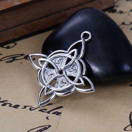 5PCs Silver Tone Celtic Knot Rhombus Pendant Necklace Jewelry 3.8x3.4cm 50
