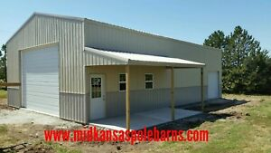 Details about Pole barn kit 30x50x14 with steel trusses & 10x20 porch