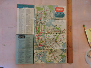 Irt Nyc Subway Map.Details About 1950s New York City Nyc Subway Map Rare Empire State Building Skyscraper Irt