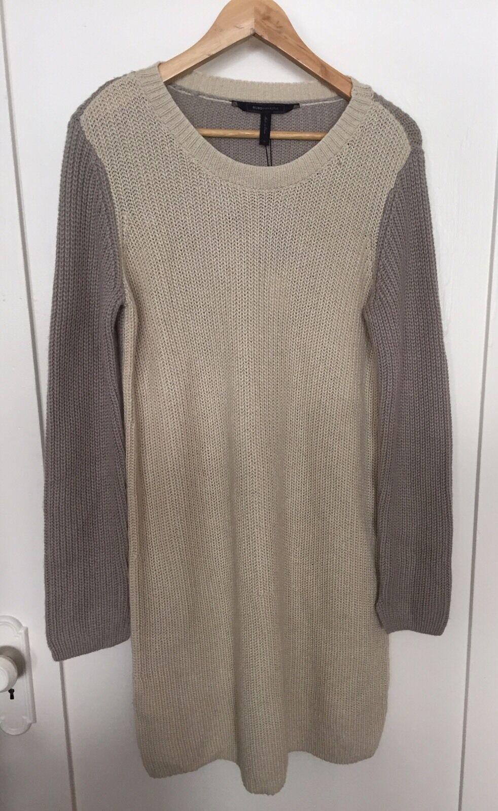 NWT BCBG Max Azria-  Nylah  Oatmeal Knit Sweater Dress- Size M Org.