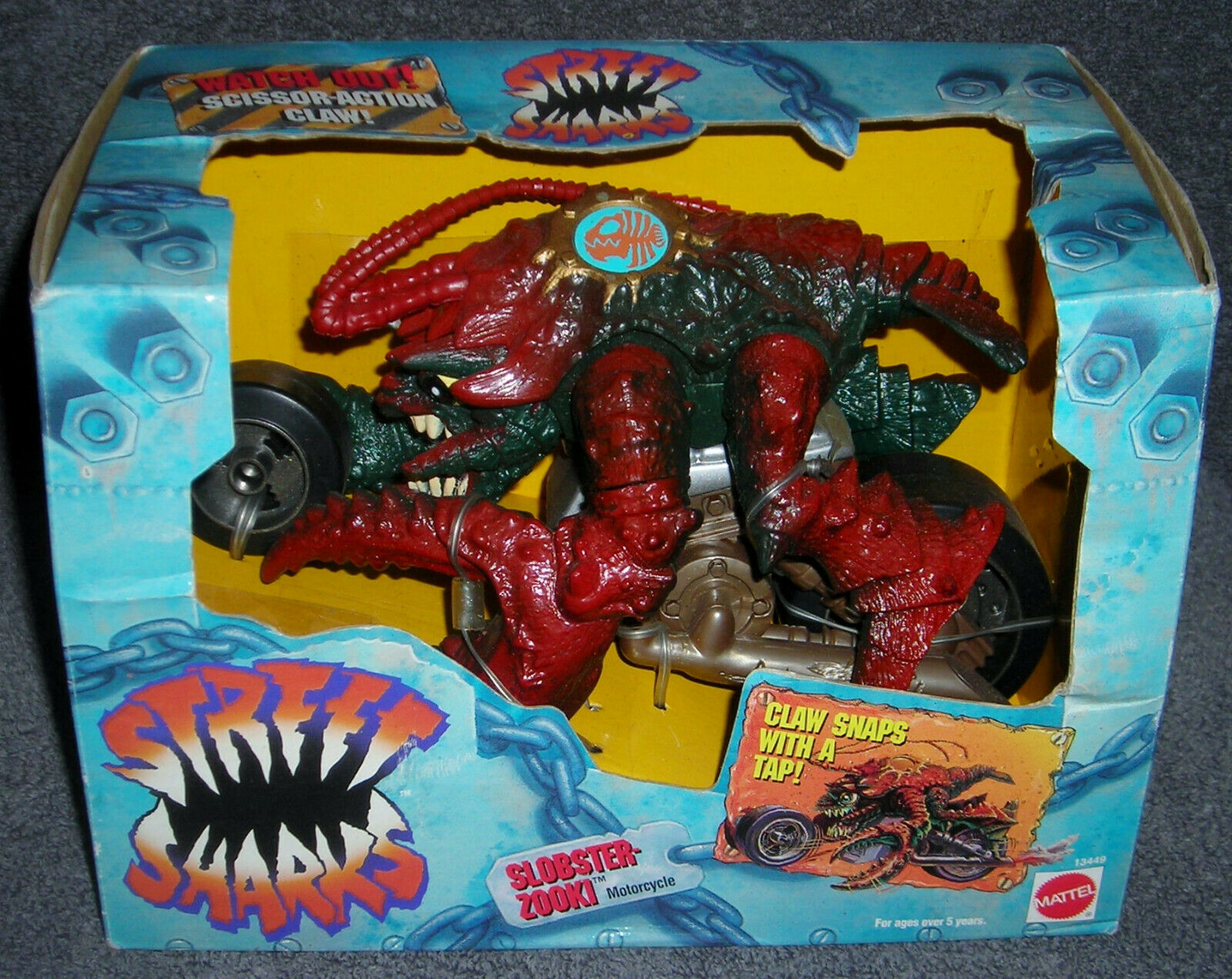 STREET SHARKS 9  SLOBSTER ZOOKI MOTORCYCLE ACTION FIGURE SCISSOR ACTION CLAW