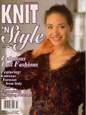Knit n Style October 2000 Sweater Cardigan Shawl Shawl Machine Knitting Patterns