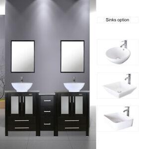 60 Black Bathroom Vanity W Small Side Cabinet Ceramic Vessel Sink Top Modern Ebay