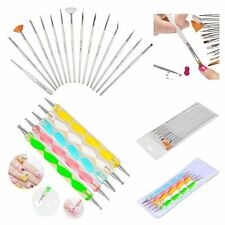 20pcs Nail Art Design Set Dotting Painting Drawing Polish Brush Pen Tools Silver