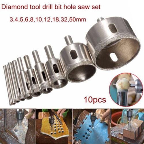 Diamond Coated Drill Bit Hole Saw Glass Tile Ceramic Cutting Mutil Tool Kit Set