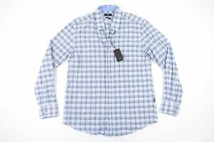 5c95fc3a HUGO BOSS BLACK LUKAS 2 PLAID CHECK BLUE SMALL REGULAR FIT BUTTON ...