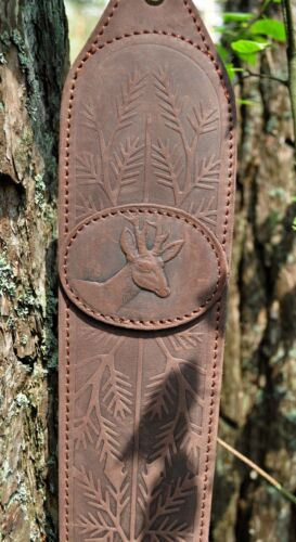 Genuine Leather Rifle or Shotgun sling decorated with Roe Neopren