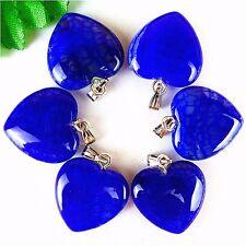 6Pcs Nice Deep Blue Dragon Veins Agate Peach Heart Pendant Bead 23*20*7mm AE1611