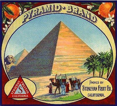 Los Angeles California Pyramid #1 Egypt Orange Citrus Fruit Crate Label Print
