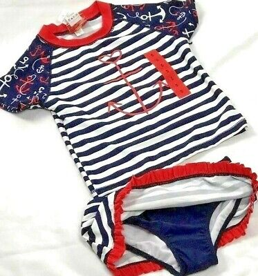 TOMMY BAHAMA Girls 2 Piece Swimsuit Rash Guard Swim Set