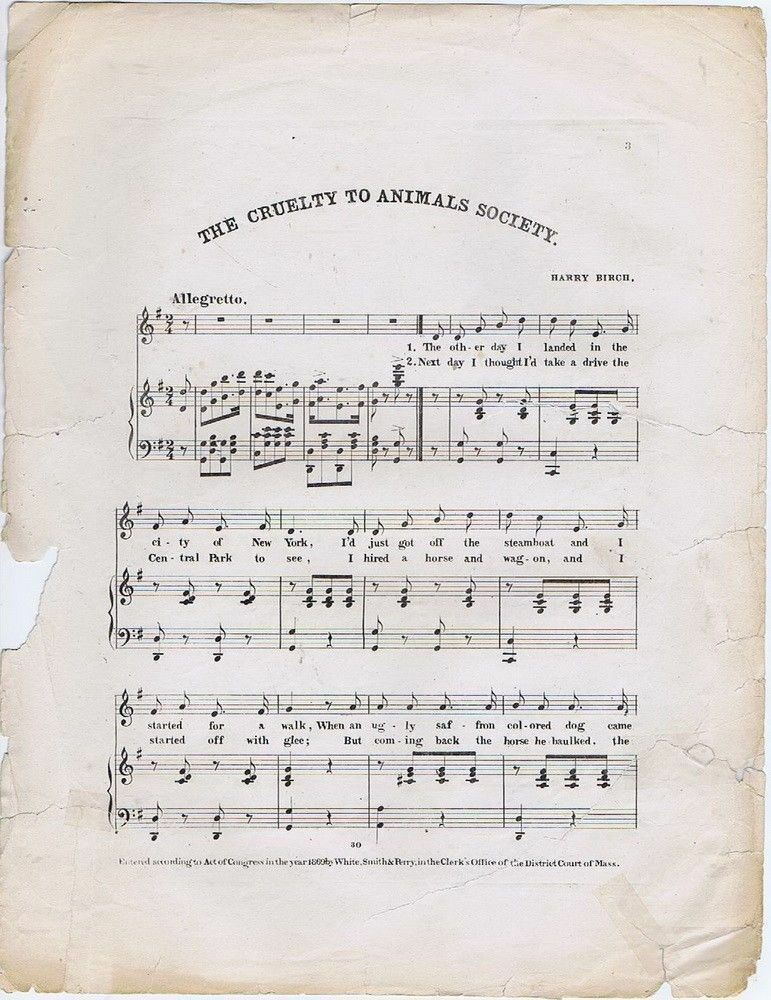 The Cruelty To Animals Society, composed by by by Harry Birch 1869 antique sheet music 431fab