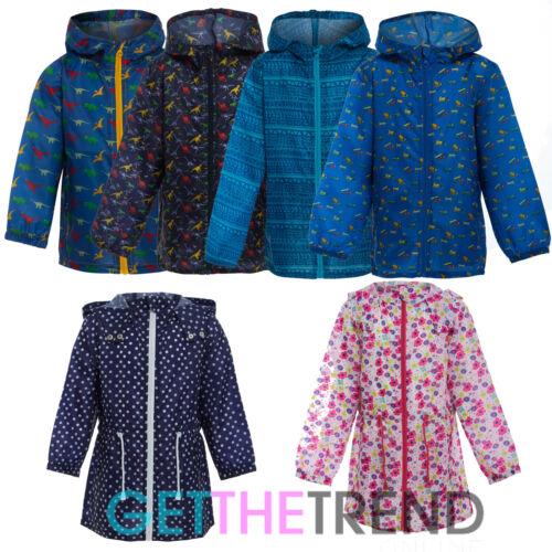 Bambini Bambine Bambini Impermeabile Pioggia Stampato Con Cappuccio MAC showerproof Kagool Kag Giacca