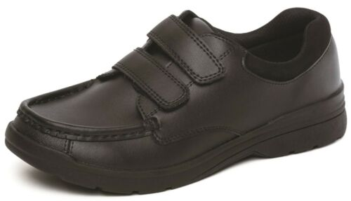 Boys Leather School Shoes Hook /& Loop Scuff Resistant Memory Foam UK Sizes 10-2
