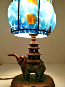 VINTAGE ART DECO ART NOUVEAU ARTS & CRAFT éléphant Lampe 1900-1940 Art Abat-jour en verre option