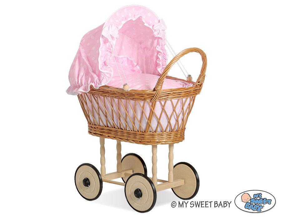 Korb Puppenwagen Lisbeth Farbe Natur mit Holzgestell / 10 Farben