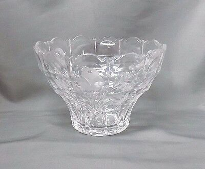 "Etched Flower Scalloped Edge Clear Glass Decorative Bowl, 5"" Tall"