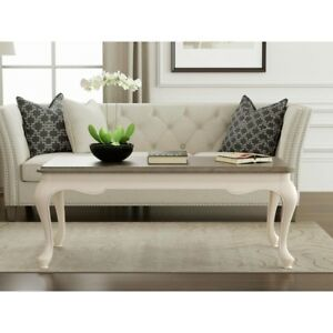 Details About Two Tone Rectangular Coffee Table Birch Wood Curved Legs Living Room Furniture