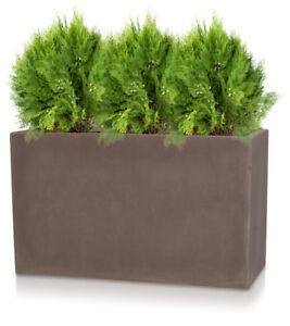 brown trough planter rectangular garden plant pot polystone light by