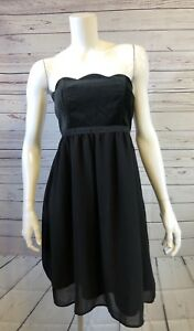 Womens-Limited-Edition-Black-Velvet-Sleeveless-Scalloped-Cut-Dress-Size-6