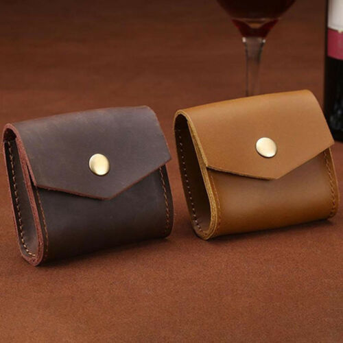 Unisex Genuine Leather Small Wallet Coin Purse Bag Money Key Holder Mini Pouch H
