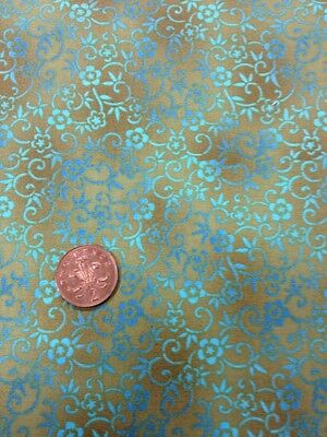 100% Cotton Cushion Quilting Fabric Michael Miller Green Blue Tonal Scroll Work