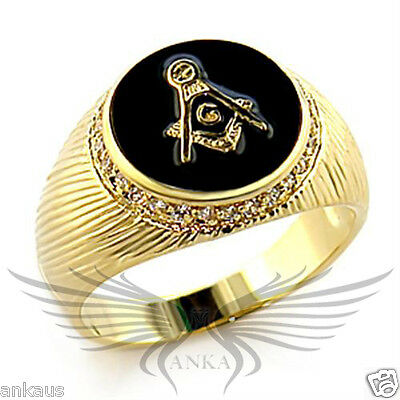 Men's Masonic Freemason Ring Gold Plated AAA CZ Cubic Zircon Accented 8X033
