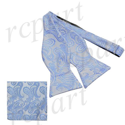 New Brand Q Men/'s micro fiber Self-tied Bow tie /& Hankie light blue paisley
