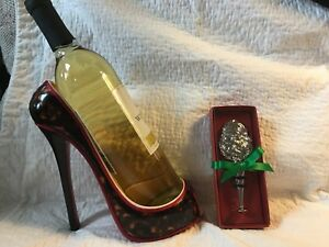 Details About Red High Heel Shoe Wine Holder And Stopper No