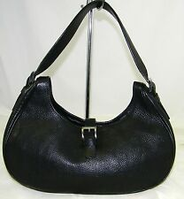 AUTHENTIC PRADA VACCHETTA  BLACK LEATHER SHOULDER HOBO BAG