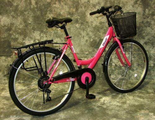 26 Zoll Damenrad 21-Gang Shimano Schaltung Licht /& Korb NEU 2608-Pinkmet.--Weiß