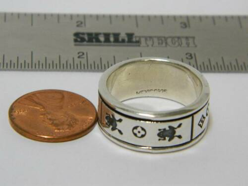 Vintage Sterling Silver Lizard Gecko Frog Mens Band Spinner Ring Mexico SR01