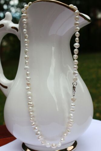 BR1 40cm Real Fresh Water Cultured Pearls Jewelry Bead Chain Necklace Collier