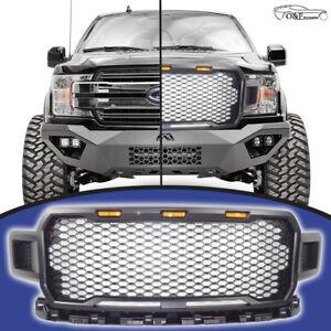 For-2018-2019-Ford-F150-Raptor-Honeycomb-Grille-Matte-Black-Grill-Amber-Lights