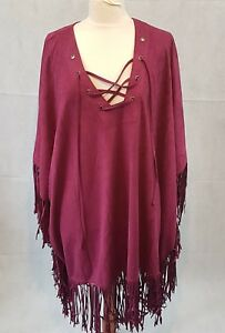 Boohoo-Poncho-Cape-Tassels-Festival-Boho-Hippie-Lace-up-front-One-Size