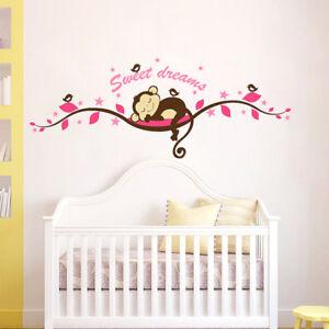 Sweet-Dream-Monkey-Tree-Branch-Birds-Vinyl-Wall-Sticker-Decal-Kids-Baby-Bedroom