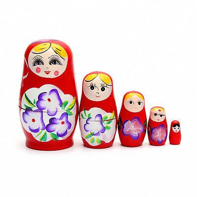 5 Dolls Set Red Wooden Russian Nesting Babushka Matryoshka Hand Painted Gift